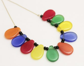 Colorful African Wedding Bead Necklace, Trade Beads Necklace, Ethnic Jewelry, Tribal Jewelry