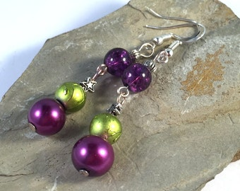 Long Dangly EARRINGS with Lime and Purple Glass Beads on .925 Sterling Silver Hooks