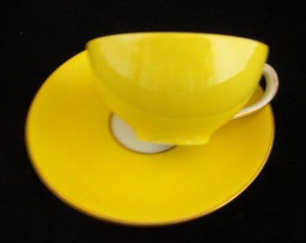 Tea Cup and Saucer, Dresden Yellow and Gold Tea Cup and Saucer, Small Tea Cup