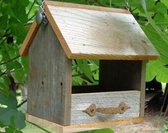 Rustic Cedar Hanging Nest Box  or Bird Feeder