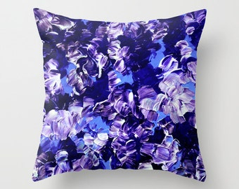 FLORAL FANTASY 2, Bold Periwinkle Purple Deep Blue Flowers 16x16 18x18 20x20 Art Throw Pillow Cover, Decor Cushion Abstract Summer Painting
