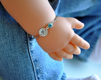 Initial Charm Childs Bracelet With Blue Evil Eye, Sterling Silver, Figaro Chain, Baby Kids Girl Jewelry, Personalized, Custom Hand Stamped