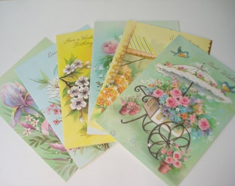 Vintage Birthday Greeting Cards Sets of 6 - 1970s - Mixed Lot of Six