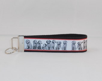Keychain Wristlet Made With Dalmation Inspired Ribbon