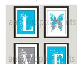 Love Turquoise PMS 306 Grey Watercolor Butterfly Paint Splatter White Wall Art  - Set of (4) - 8x10 Prints (UNFRAMED) 240556082