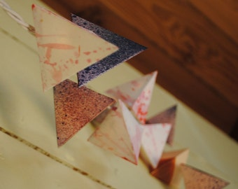 Paper Pyramid Lanterns - CAVES - neutral hanging lights with rose gold metallic details