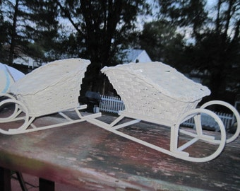 White Wicker Sled Baskets Set of 2 :)