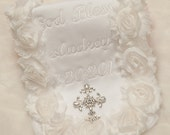 Baby Boy or Baby Girl Special Occasion Personalized White Baby Burp Cloth White Burp Cloth for Christening and Special  Occasion