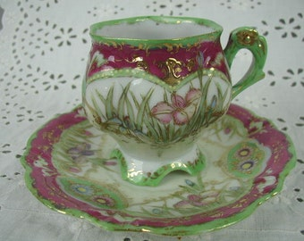 Antique Teacup and Saucer, Aesthetic Period, Fine Porcelain, Hand Painted Iris Flowers, Gilt Trim, Pinks and Green