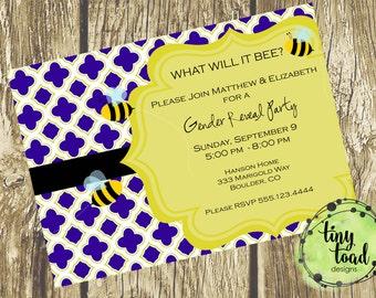 """What will it """"Bee"""" Gender Reveal Party, DIY Printable, digital file (item 1005)"""