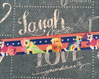 """7/8"""" Grosgrain July 4th My little Pony Ribbon"""