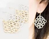 Celtic Knot Earrings, Gold / Silver, Weave Dangle Charm, Wedding Jewelry, wj