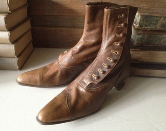 Victorian Ladies Button Boots, Brown Leather Boots, Antique French Rare Collectors Costume, Edwardian Era Brown Leather Button Ankle Boots