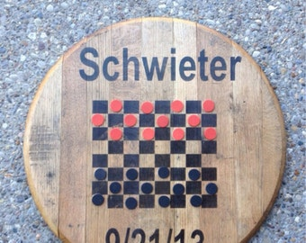 Reclaimed bourbon barrel top checkers board. CUSTOMIZABLE