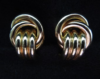 Vintage Clip Earrings, Gold Toned Knot Style, Excellent Condition