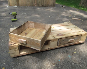 Handmade Custom Salvaged Wood Under Bed Drawers - Small