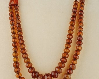 Most charming 1920 natural Baltic amber double strand rare necklace