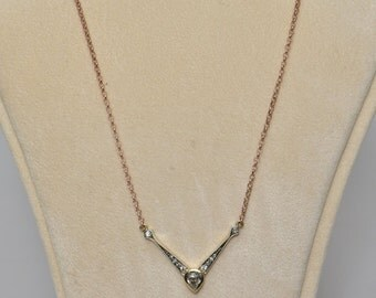 Victorian .85 Ct old diamond solitaire and more necklace