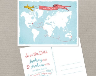 Destination wedding World map International couple bilingual wedding invitation Save the Date Card - Airplane with Banner USA Australia
