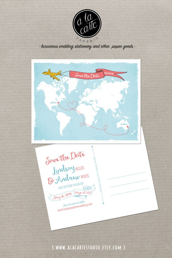 Destination wedding World map International couple bilingual