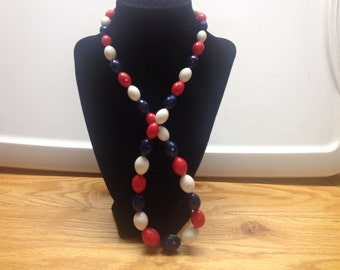 Vintage Red, White, and Blue Plastic Beaded Necklace, Length 27''