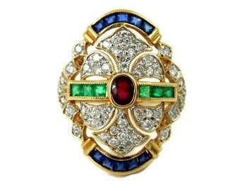 18K Pave Diamond Emerald Ruby and Sapphire Ring European Art Deco