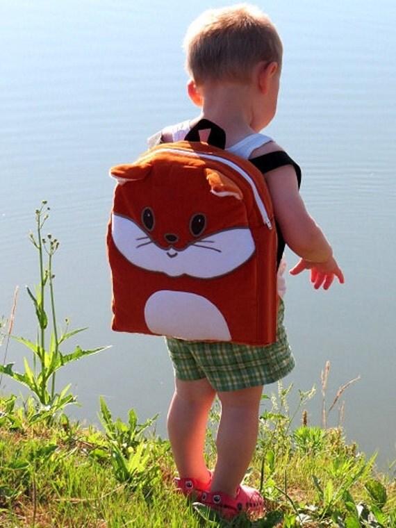 Kids Backpack,  Fox Toddler Backpack, Red  Fox Preschool Backpack, Toddler Gift