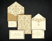 Custom Luxury Gold and Ivory Invitations - SALE CUSTOM INVITATIONS with Designed Envelope   -  Metallic Printing Double Sided Invitations