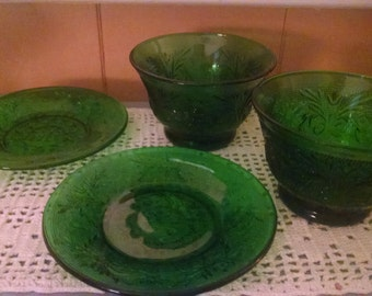 Green Oatmeal Glass Saucers and Bowls