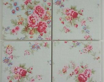Shabby Chic Ceramic Coasters in Cath Kidston Washed Roses