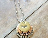 Personalized Hand Stamped Mom Grandma Great Grandma Necklace