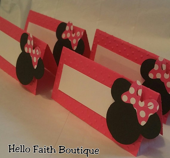 Set Of 12 Minnie Mouse Food Labels Buffet Tents By HelloFaith