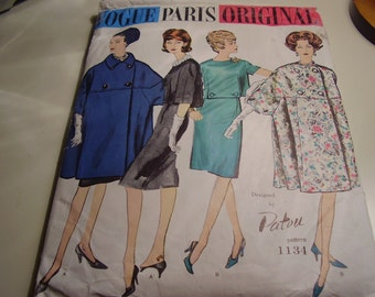 Vintage 1960's Vogue 1134 Paris Original Patou Two Piece Dress and Coat Sewing Pattern, Size 12, Bust 32 or Size 16, Bust 36