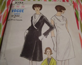 SALE Vintage 1960's Vogue 6553 Dress and Coat Sewing Pattern, Size 12, Bust 32