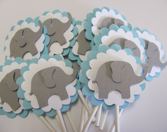 Light Blue, Gray, White Elephant Toppers, Set of 12, elephant cupcake toppers, baby shower decorations