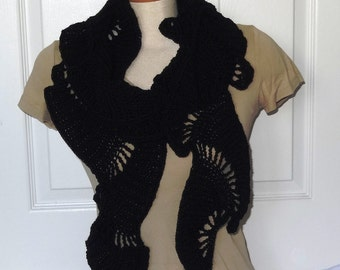 Sale - 25% Off - Crochet Long Summer Lacey Wavey Scarf in Black - Ready to Ship
