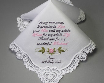 Mother of Groom Embroidered Personalized Wedding Handkerchief (#4305)