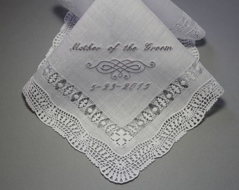1pc Embroidery Personalized Wedding Handkerchief  Made of Linen to Mother of Bride (Custom / Monogram )