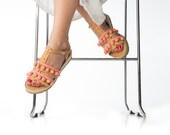 Leather Gladiator Sandals - Summer shoes - Pom pom leather shoes. Platform sandals