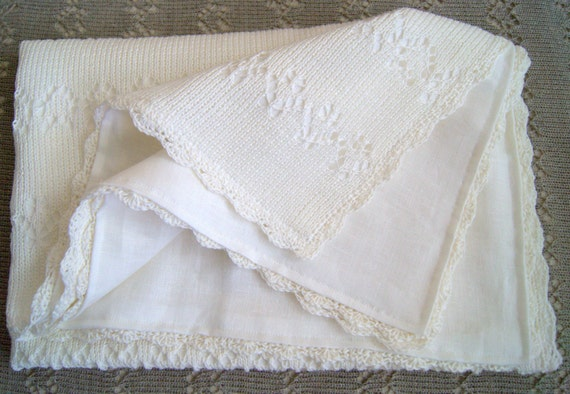 Christening Blanket Knitting Pattern : Items similar to Knitted baby blanket with linen fabric lining. Christening b...