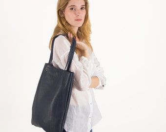 Navy leather purse, leather tote bag, women leather purse