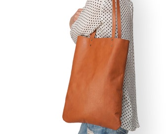 Brown Leather tote, soft leather purse, women bag