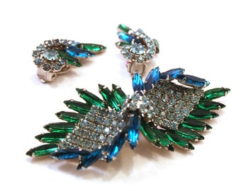 Delizza Elster Julianna Vintage Brooch and Earring Set // 15666