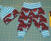Organic Baby Newborn Baby Pants Knot Hat Set size 0-3 months Znok Dragons