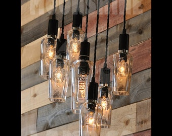 The 209 - Recycled Bottle Light Chandelier