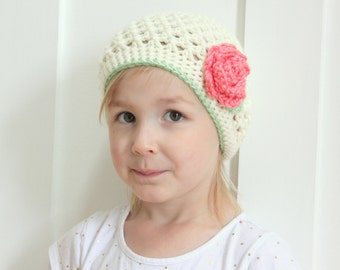 Cream Crochet Girl Hat with coral flower, toddler hat, baby hat