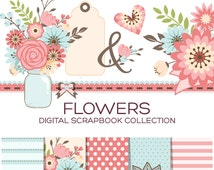 Floral Clipart, Flower clipart, Wedding clipart, Baby Girl Clipart, Mothers Day Clip Art, Mason Jar Clip Art, Save The Date Clipart - C00001