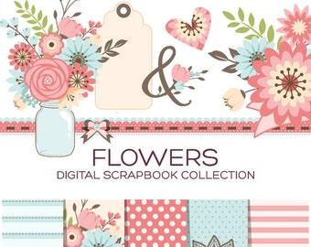 Floral Clipart Floral Clip Art Flower Clipart Flourish Clipart Wedding Clipart Wedding Clip Art Valentine Clipart Floral Stickers - C00001