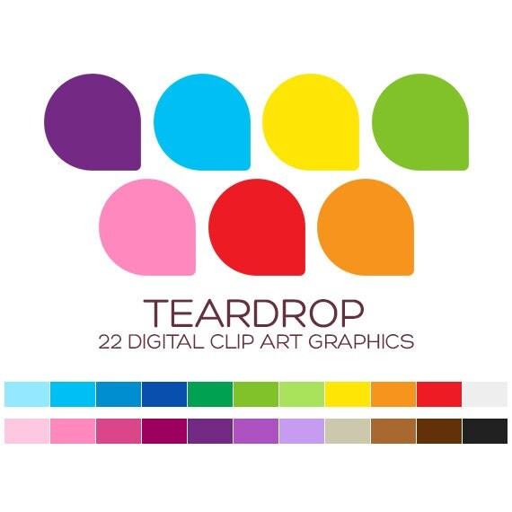 Teardrop Digital Label Clipart Teardrop Stickers Digital