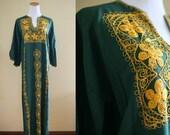 1960's Embroidered Caftan - 60's Dress - Green and Gold Kaftan - Medium